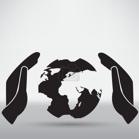 Illustration for Hand holding black earth icon. illustration on white background - Royalty Free Image