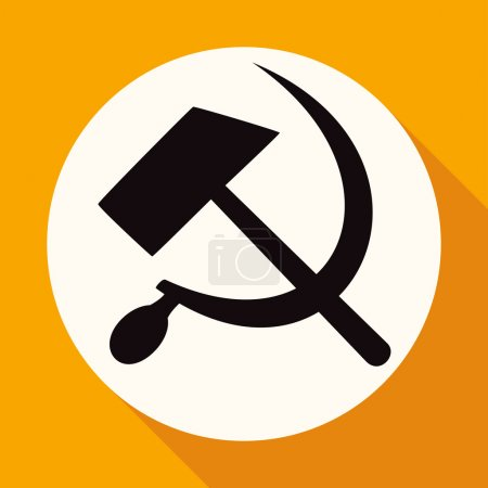 Icon of socialist symbol, sickle, hammer in white ...