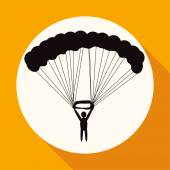 Icon of Parachute sport in white circle with a long shadow