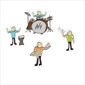 Kreslený hudebníků hrajících hudbu