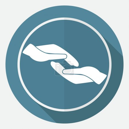 Illustration for Caring hands, help icon. vector illustration in circle on blue background - Royalty Free Image