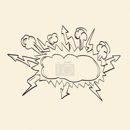 Illustration for Comic book explosion. sketch drawing. vector illustration - Royalty Free Image