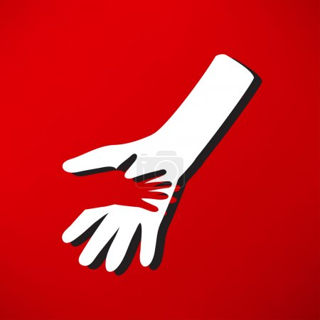 Illustration for Caring hands, help icon. vector illustration on red background - Royalty Free Image