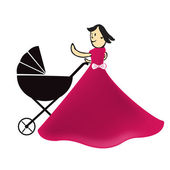 mother with stroller icon