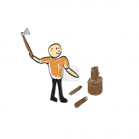 Illustration for Forester with axe in wood vector illustration - Royalty Free Image