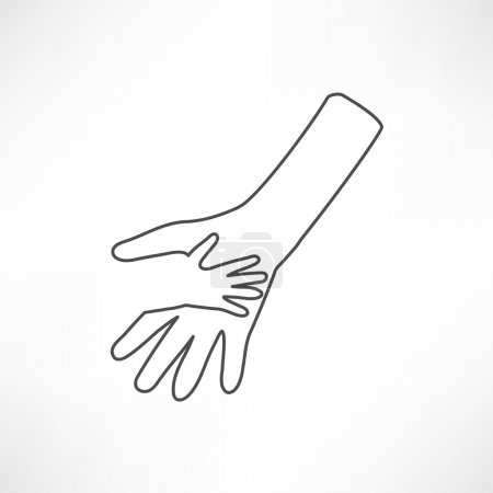 Illustration for Caring hands, help icon. outline vector illustration on white background - Royalty Free Image