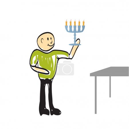 Illustration for Man walks with a candle to the goal, vector illustration - Royalty Free Image