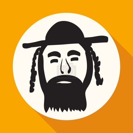 Orthodox jew, man in hat icon