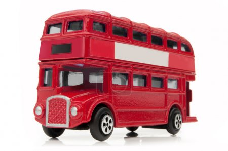 Red London double decker bus over a white backgrou...
