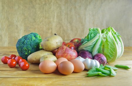 Photo for Fresh organic produce including fruits and vegetables - Royalty Free Image