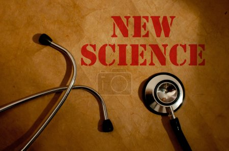 Photo for Stethoscope next to new science heading - Royalty Free Image