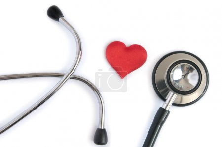 Photo for Medical stethoscope with heart shape over a white background - Royalty Free Image