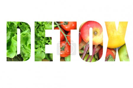 Photo for Detox text made from fruits and vegetables isolated on white - Royalty Free Image