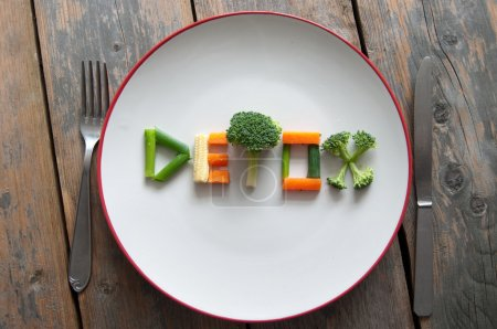 Photo for Detox text on a plate made from various vegatables including broccoli, spring onions and carrots - Royalty Free Image
