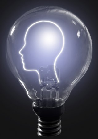 Light bulb human profile
