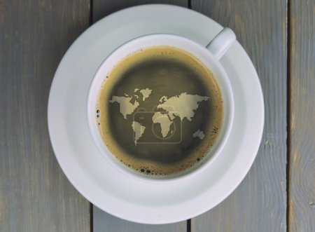Coffee cup world map