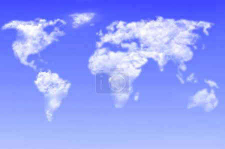 World map clouds