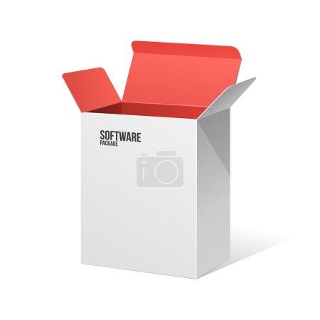 Illustration pour Boîte de paquet de logiciel ouverte blanche à l'intérieur rouge. Eps 10 - image libre de droit