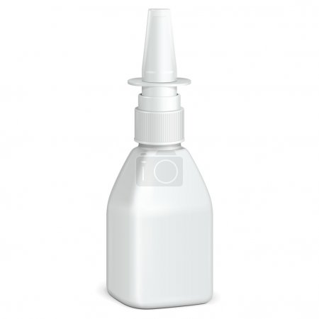 Spray Square Medical Nasal Antiseptic Drugs Plastic Bottle White. Ready For Your Design. Product Packing Vector EPS10