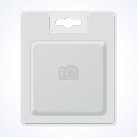 Plastic Square Transparent Blister With Hang Slot, Product Package. Illustration Isolated On White Background.