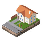 Cottage Small Wooden House For Real Estate Brochures Or Web Icon With Yard  Fence Ground Isometric Vector EPS10
