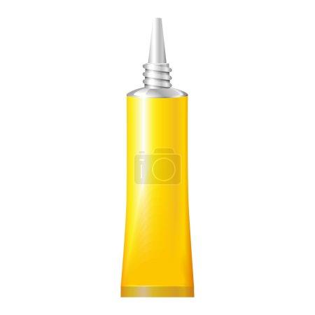 Illustration pour Tube jaune de super colle. Produits sur fond blanc Isolé. Prêt pour votre design. Emballage du produit. Vecteur EPS10 - image libre de droit