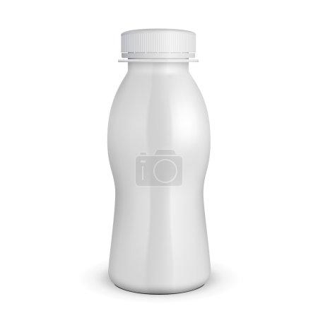 Illustration pour Bouteille en plastique de lait de yaourt blanc 3D. Produits sur fond blanc Isolé. Prêt pour votre design. Emballage du produit. Vecteur EPS10 - image libre de droit