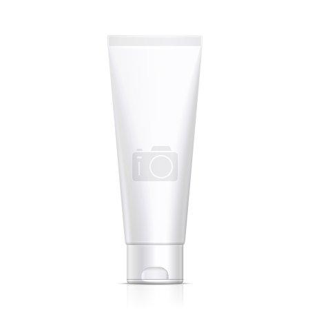 Illustration pour Maquette Tube De Crème Ou Gel Niveaux de gris Blanc Propre. Produits sur fond blanc Isolé. Prêt pour votre design. Emballage du produit. Vecteur EPS10 - image libre de droit