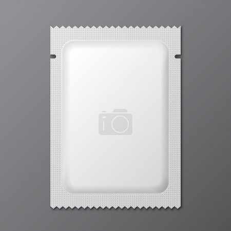 White Blank Retort Condom Wrapper. Foil Pack Template Ready For Your Design. Vector EPS10