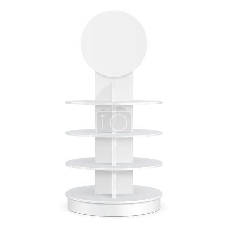White Round POS POI Cardboard Floor Display Rack F...