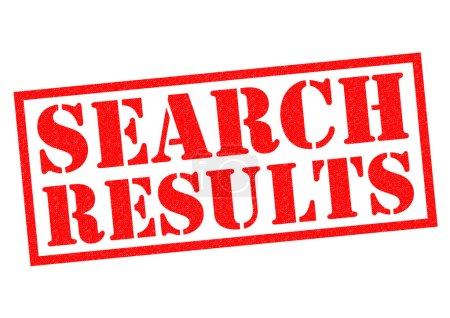 Photo pour Recherche tampon résultats rouge sur fond blanc. - image libre de droit