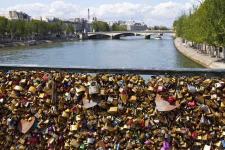 The Love Locks on the Pont des Arts in Paris.