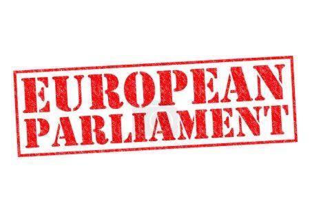 Photo pour Pieczątka Parlamentu Europejskiego, czerwony na białym tle. - image libre de droit