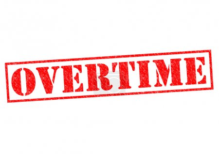 OVERTIME red Rubber Stamp over a white background....