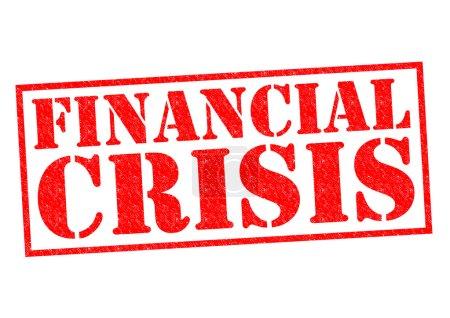 Photo pour Timbre de caoutchouc financière crise rouge sur fond blanc. - image libre de droit