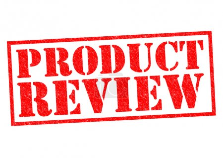 Photo pour PRODUCT REVIEW red Rubber Stamp over a white background. - image libre de droit
