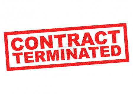 Photo for CONTRACT TERMINATED red Rubber Stamp over a white background. - Royalty Free Image