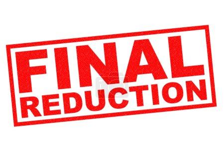 Photo pour Timbre de caoutchouc final réduction rouge sur fond blanc. - image libre de droit