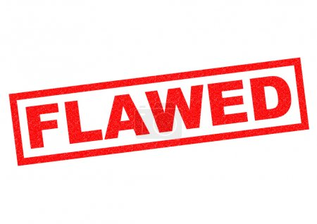FLAWED red Rubber Stamp over a white background....
