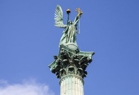Photo for The statue of Archangel Gabriel on top of the Heroes Square Column in Budapest. - Royalty Free Image