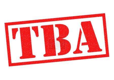 Photo pour Timbre en caoutchouc TBA rouge sur fond blanc. - image libre de droit
