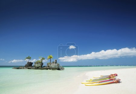 tropical beach and christian shrine on boracay island philippine