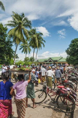 Photo for Old bicycle cyclo taxi rickshaw in yangon myanmar - Royalty Free Image
