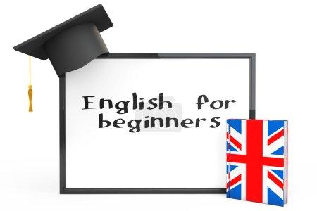 Photo pour English Learning Concept. Graduation Cap, Tableau noir et Grammaire anglaise Livre sur un fond blanc - image libre de droit