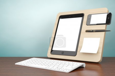 Old Style Photo. Wooden Mobile Devices Organiser. 3d rendering