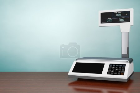 Photo pour Photo à l'ancienne. Balance électronique pour peser la nourriture sur la table en bois. Rendu 3d - image libre de droit