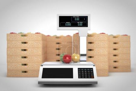 Photo pour Balance électronique pour peser les aliments avec des boîtes de pommes sur fond blanc. Rendu 3d - image libre de droit