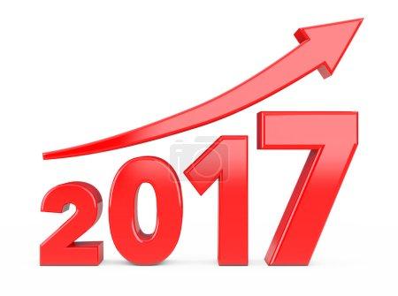 Progress Arrow in New 2017 Year Sign. 3d Rendering