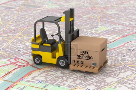 Cargo delivery Concept. Forklift with Free Shipping Box