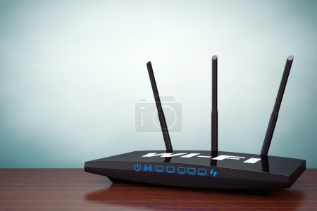 Old Style Photo. 3d Modern WiFi Router on the table